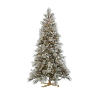 7 ft. Norway Pine Flocked Pre Lit Christmas Tree   Christmas Trees