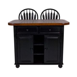 Sunset Trading 3 Piece Tile Top Kitchen Island Set with 2 Stools   Black/Cherry   Kitchen Islands and Carts