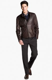Armani Collezioni Leather Jacket, Sweater, Shirt & Slim Dress Pants