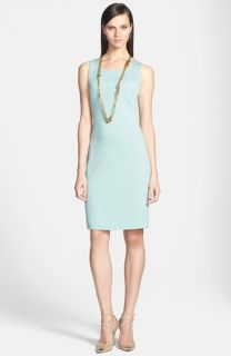 Adrianna Papell V Neck Shutter Pleat Sheath Dress