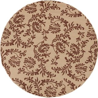 Carterlake Dark Khaki Floral Indoor/Outdoor Rug (5'3 Round) Surya Round/Oval/Square