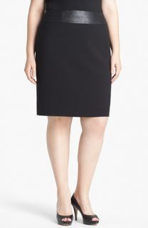 Anne Klein Faux Leather Trim Pencil Skirt (Plus Size)