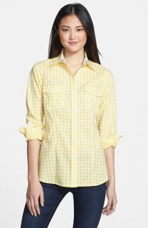 Foxcroft Gingham Check Roll Sleeve Shirt (Petite)