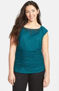 Adrianna Papell Jewel Neck Ruched Blouse (Plus Size)