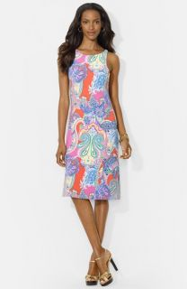 Lauren Ralph Lauren Paisley Print Sleeveless Crewneck Dress (Petite)