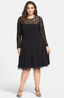 Betsy & Adam Lace Overlay Fit & Flare Dress (Plus Size)