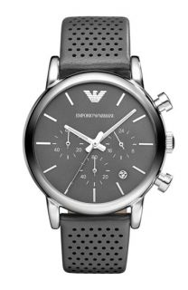 Emporio Armani Perforated Leather Strap Watch, 41mm