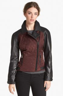 Vince Camuto Leather & Quilted Fabric Moto Jacket (Online Only)