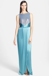 St. John Collection Sequin Bodice Liquid Satin Gown with Train