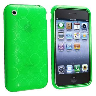 Eforcity Clear Green Circle TPU Rubber Case for Apple iPhone 3G/3GS Eforcity Cases & Holders