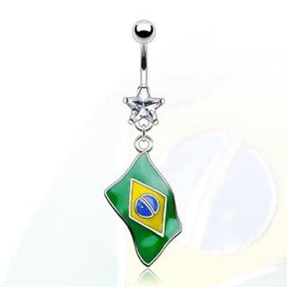 "316L Surgical Stainless Steel and Star Gem Navel Belly Button Ring with Epoxy ""Flag of Brazil"" Dangle   14 GA 3/8"" Long West Coast Jewelry Jewelry"