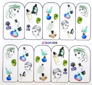 Egoodforyou BLE Water Slide Water Transfer Nail Tattoo Nail Decal Sticker Oil Portray (Beauty, Wine and Perfume) with one packaged nail art flower sticker bonus  Nail Art Equipment  Beauty
