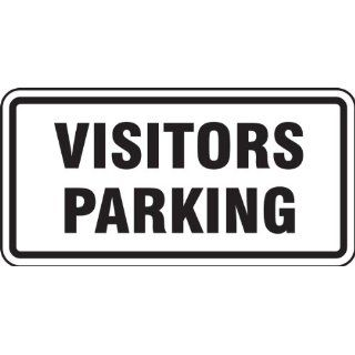 "Accuform Signs FRP198RA Engineer Grade Reflective Aluminum Facility Traffic Sign, Legend ""VISITORS PARKING"", 24"" Width x 12"" Length x 0.080"" Thickness, Black on White"