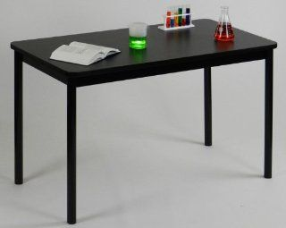 Correll LT2448 07 24 x 48 High Pressure Laminate Lab Table with Black Granite Top, Black   Science Lab Tables