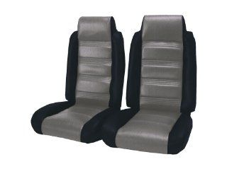 Acme U208 898L Front Silver Velour with Black Vinyl Bench Seat Upholstery Automotive