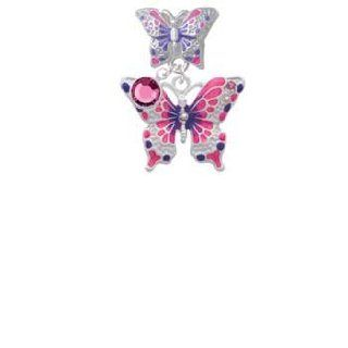 Large Hot Pink & Purple Butterfly Butterfly Charm Bead Dangle with Crystal Drop Delight & Co. Jewelry
