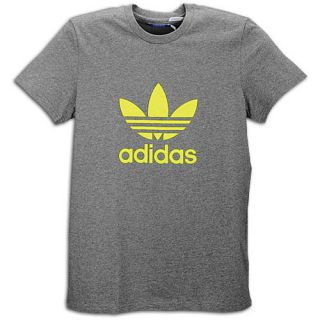 adidas Originals Trefoil S/S Logo T Shirt   Mens   Casual   Clothing   Dark Grey Heather/Electricity