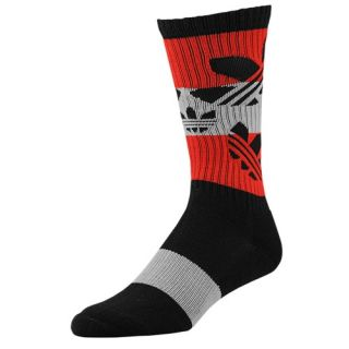 adidas Originals Trefoil Crew Socks   Mens   Casual   Accessories   Black/Light Scarlet/Mid Grey