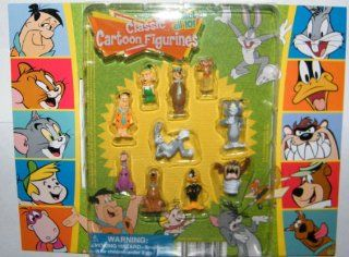 Hanna Barbera / Loony Tunes Classic Cartoon Charater Mini Figure Vending Toy Set of 10 with Tom and Jerry, Scooby Doo, Fred Flintstone, Yogi Bear, Bugs Bunny Etc with Bonus Looney Tunes Cookie Cutter