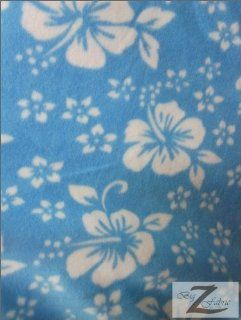 "HAWAIIAN FLOWER PRINT POLAR FLEECE FABRIC   BABY BLUE   60"" SOLD BTY HIBISCUS (239)"