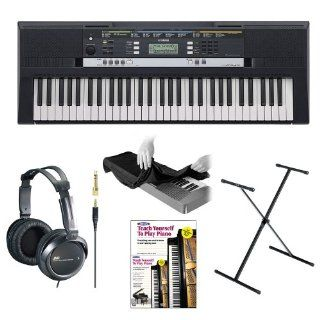 Yamaha PSRE243 Entry Level Portable Keyboard with JVC Full Size Stereo Headphones, 61 Key Keyboard Dust Cover, X Style Keyboard Stand and Alfred's Learn to Play Piano   Book + DVD Musical Instruments
