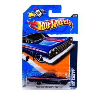 2012 Hot Wheels Muscle Mania   GM '62 Chevy Blue #103/247 Toys & Games