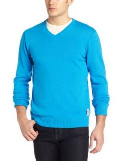 Calvin Klein Jeans Men's Solid V Neck Sweater, Atlas Blue, Large at  Men�s Clothing store