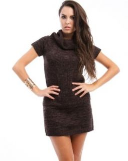247 Frenzy Cowl Neck Short Sleeve Sweater Dress   Chocolate (Large)