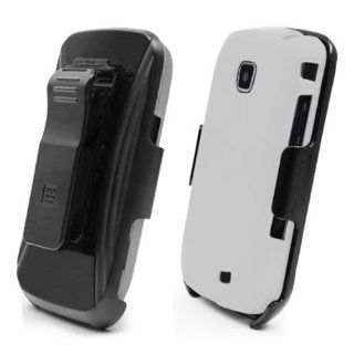 Samsung i110 Galaxy Proclaim White Cover Case + KickStand Belt Clip Holster + Naked Shield Screen Protector Cell Phones & Accessories