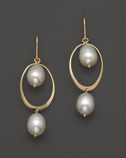 14K Yellow Gold Curved Oval Frame Pearl Earrings's