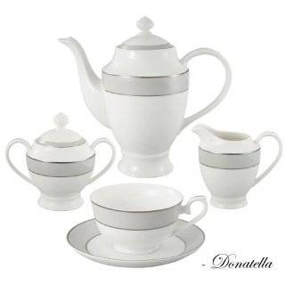 Lorren Home Trends La Luna Collection Bone China 57 Piece Silver Border and Trim Dinnerware Set, Service for 8 Kitchen & Dining