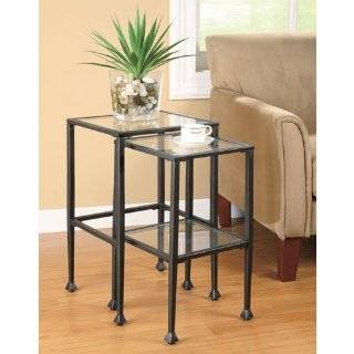 Coaster 901073 2 Piece Nesting Table Set, Glass and Black Metal   Sofa Tables
