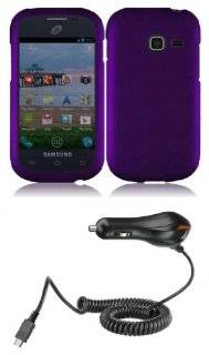 Samsung Galaxy Centura S738C (Straight Talk, Tracfone, Net10)   Premium Accessory Kit   Dark Purple Hard Shell Case + ATOM LED Keychain Light + Micro USB Car Charger Cell Phones & Accessories