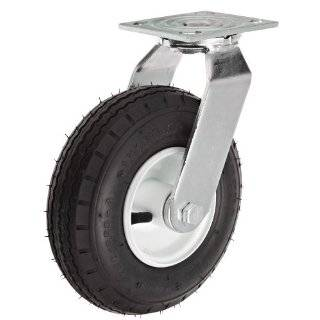 "Albion 16 Series 8"" Diameter Pneumatic Wheel Medium Heavy Duty Zinc Plate Swivel Caster, Roller Bearing, 4 1/2"" Length X 4"" Width Plate, 295 lbs Capacity"