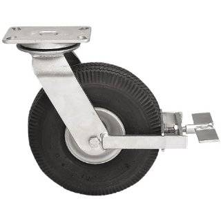 "Albion 16 Series 8"" Diameter Pneumatic Wheel Medium Heavy Duty Zinc Plate Swivel Caster with Face Brake, Roller Bearing, 4 1/2"" Length X 4"" Width Plate, 295 lbs Capacity"