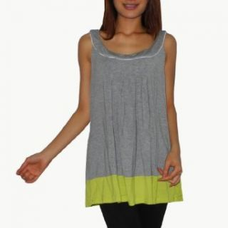 DKNY Womens Comfortable Crew Neck Sleeveless Tank Shirt / Tee Blouse (Large, Gray/Lime Green) Clothing