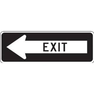 "Accuform Signs FRR297RA Engineer Grade Reflective Aluminum Facility Traffic Sign, Legend ""EXIT"" with Left Arrow, 36"" Width x 12"" Length x 0.080"" Thickness, Black on White"