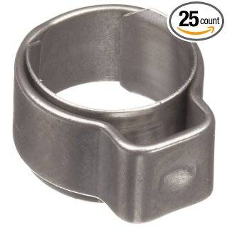 "Oetiker 1 Ear Type Stainless Steel 304 Hose Clamp with Stainless Steel 302 Insert, OD .114"" Closed and .145"" Open, 5.5""W (Pack of 25) Single Ear Clamps"
