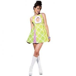 Sexy Theatre Costumes 60s Mod Mini Dress Green Appletini Hippie Costume Clothing