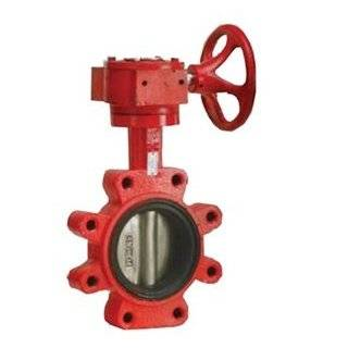 Lug Style Butterfly Valve   Stainless Steel Disc / Gear Handle / Buna N Seat / Red Body   B5 LGGS5 5""