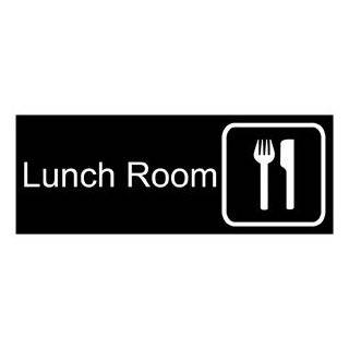 Lunch Room White on Black Engraved Sign EGRE 410 SYM WHTonBLK  Business And Store Signs
