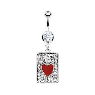 316L Surgical Steel Multi Paved Gem Red Heart Ace Poker Card Navel Ring Forever Flawless Jewelry Jewelry