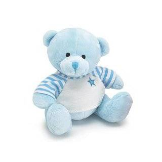 Blue Plush Teddy Bear with White Tee shirt Stripes Star Toys & Games