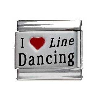 I Heart Line Dancing Red Heart Laser Italian Charm Jewelry