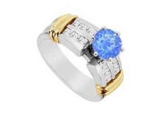Sapphire and Cubic ZIrconia Engagement Ring in 14K Two Tone White and Yellow Gold 1.10 Carat TGW LOVEBRIGHT Jewelry