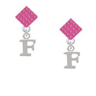 Small Silver Initial   F Hot Pink Crystal Diamond Shaped Lulu Post Earrings Jewelry