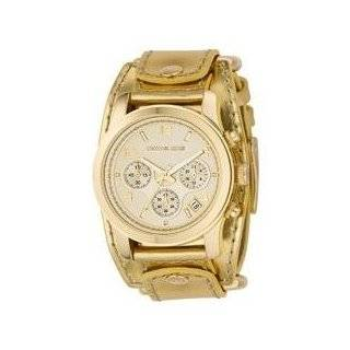 Michael Kors Gold Leather Cuff,Chrono Midsize Runway MK2175 Watches