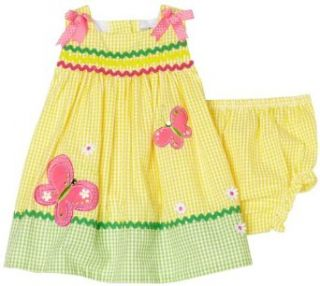 Rare Editions Baby Girls Infant Seersucker Butterfly Dress, Yellow, 12 Months Clothing