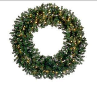"60"" Pre Lit Deluxe Windsor Pine Artificial Christmas Wreath   Clear Lights"