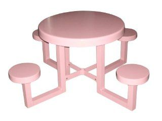OFAB Custom Theme Tables 335A0016 30 Inch Round Aluminum Kids Picnic Table, Pink Patio, Lawn & Garden
